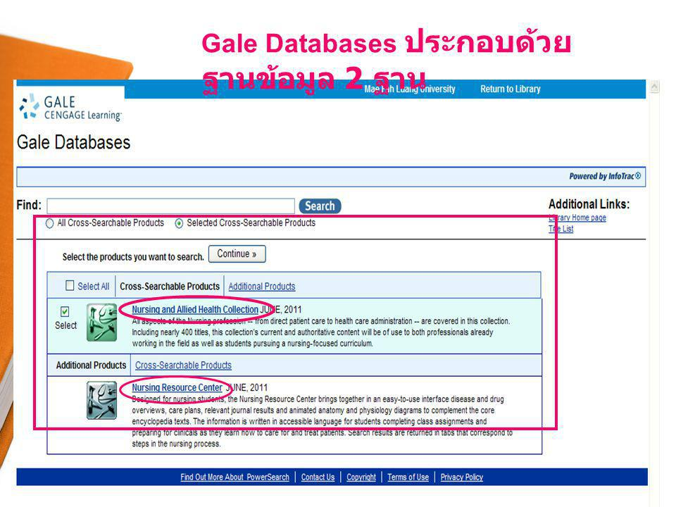Gale Databases ประกอบด้วย ฐานข้อมูล 2 ฐาน