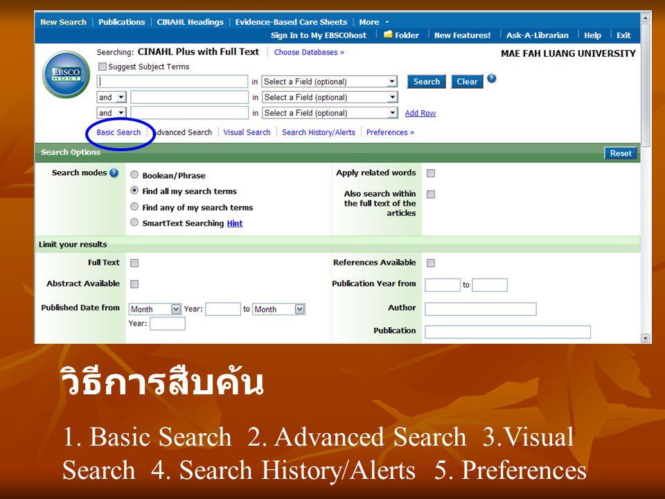 วิธีการสืบค้น 1. Basic Search 2. Advanced Search 3.Visual Search 4. Search History/Alerts 5. Preferences