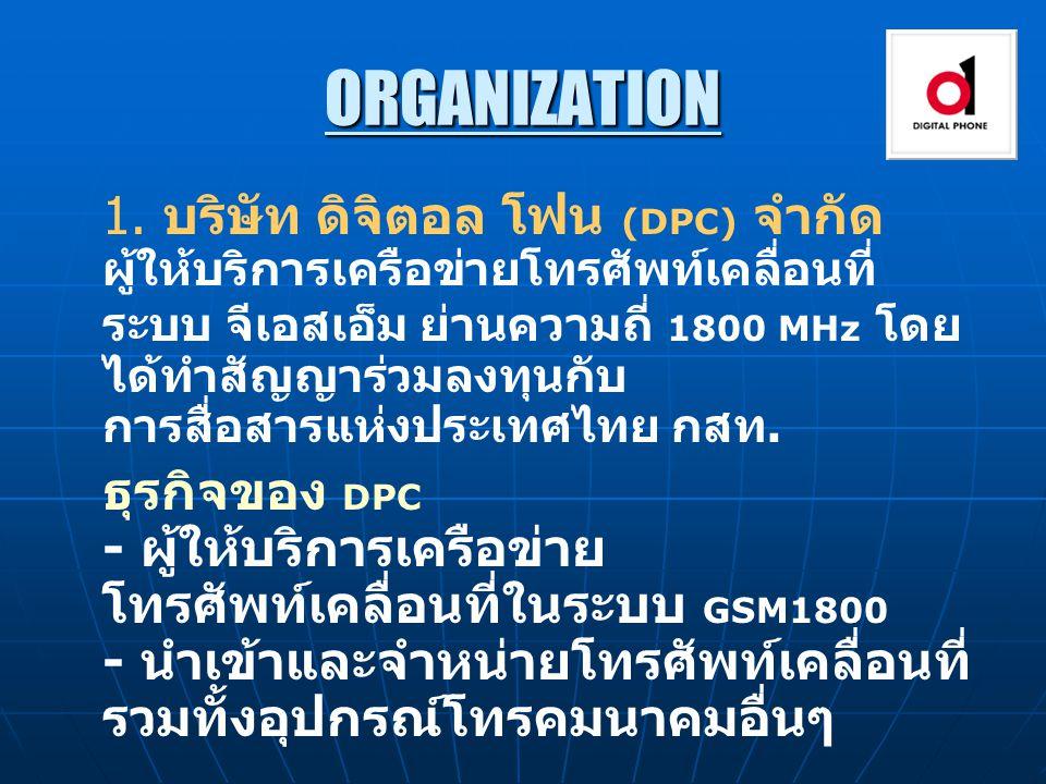 ORGANIZATION 1. บริษัท ดิจิตอล โฟน (DPC) จำกัด ผู้ให้บริการเครือข่ายโทรศัพท์เคลื่อนที่ ระบบ จีเอสเอ็ม ย่านความถี่ 1800 MHz โดย ได้ทำสัญญาร่วมลงทุนกับ