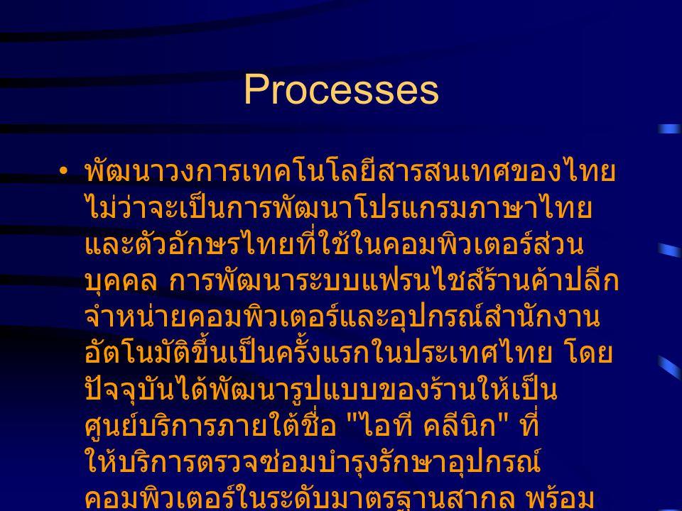 Processes พัฒนาวงการเทคโนโลยีสารสนเทศของไทย ไม่ว่าจะเป็นการพัฒนาโปรแกรมภาษาไทย และตัวอักษรไทยที่ใช้ในคอมพิวเตอร์ส่วน บุคคล การพัฒนาระบบแฟรนไชส์ร้านค้าปลีก จำหน่ายคอมพิวเตอร์และอุปกรณ์สำนักงาน อัตโนมัติขึ้นเป็นครั้งแรกในประเทศไทย โดย ปัจจุบันได้พัฒนารูปแบบของร้านให้เป็น ศูนย์บริการภายใต้ชื่อ ไอที คลีนิก ที่ ให้บริการตรวจซ่อมบำรุงรักษาอุปกรณ์ คอมพิวเตอร์ในระดับมาตรฐานสากล พร้อม จัดตั้งศูนย์เอสวีโอเอเพื่อเป็นศูนย์กลางใน การกระจายสินค้าและบริการสู่ระดับภูมิภาค ทั่วประเทศ SVOA