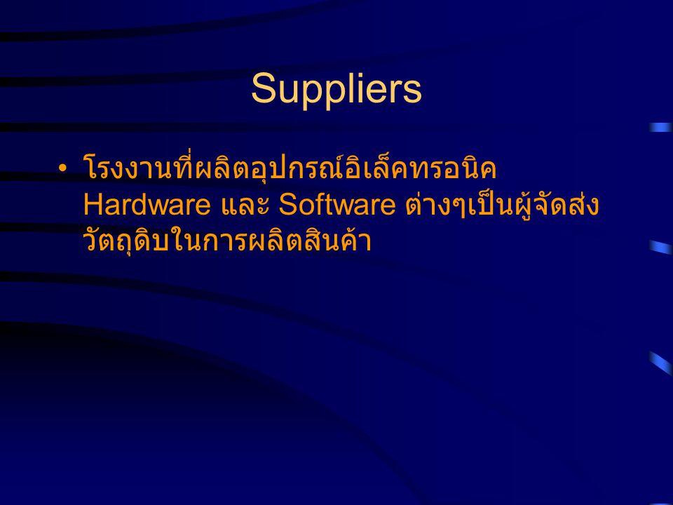 Suppliers โรงงานที่ผลิตอุปกรณ์อิเล็คทรอนิค Hardware และ Software ต่างๆเป็นผู้จัดส่ง วัตถุดิบในการผลิตสินค้า