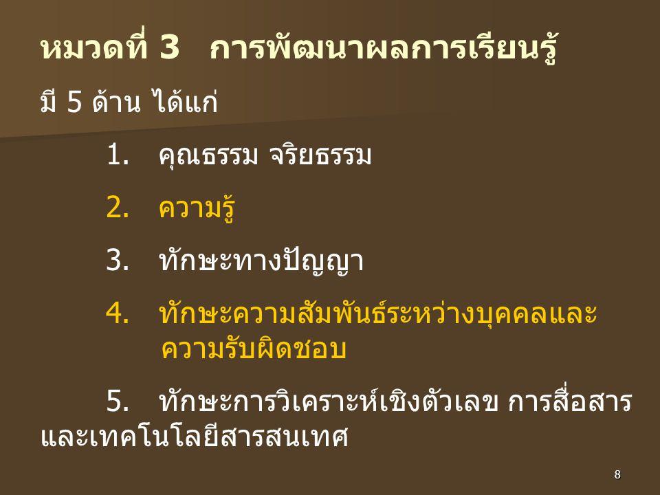 8 หมวดที่ 3 การพัฒนาผลการเรียนรู้ มี 5 ด้าน ได้แก่ 1.