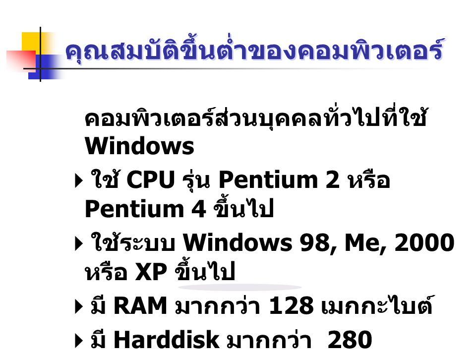 คุณสมบัติขึ้นต่ำของคอมพิวเตอร์ คอมพิวเตอร์ส่วนบุคคลทั่วไปที่ใช้ Windows  ใช้ CPU รุ่น Pentium 2 หรือ Pentium 4 ขึ้นไป  ใช้ระบบ Windows 98, Me, 2000 หรือ XP ขึ้นไป  มี RAM มากกว่า 128 เมกกะไบต์  มี Harddisk มากกว่า 280 เมกกะไบต์