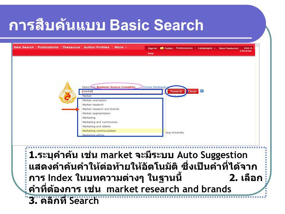 การสืบค้นแบบ Basic Search 1. ระบุคำค้น เช่น market จะมีระบบ Auto Suggestion แสดงคำค้นคำให้ต่อท้ายให้อัตโนมัติ ซึ่งเป็นคำที่ได้จาก การ Index ในบทความต่