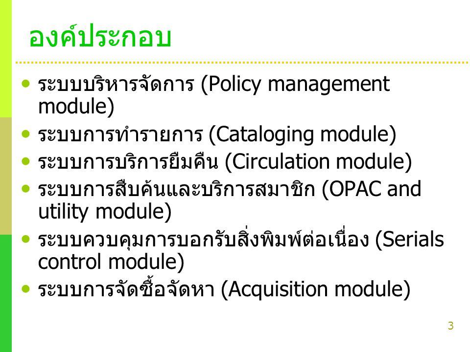 3 องค์ประกอบ ระบบบริหารจัดการ (Policy management module) ระบบการทำรายการ (Cataloging module) ระบบการบริการยืมคืน (Circulation module) ระบบการสืบค้นและ