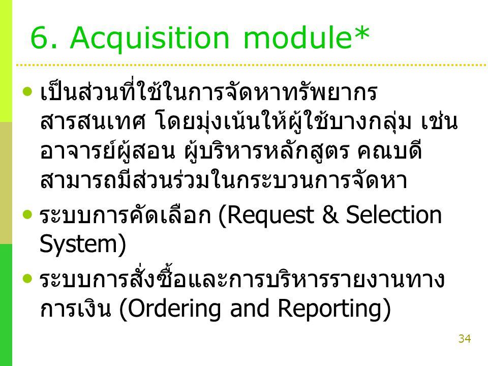34 6. Acquisition module* เป็นส่วนที่ใช้ในการจัดหาทรัพยากร สารสนเทศ โดยมุ่งเน้นให้ผู้ใช้บางกลุ่ม เช่น อาจารย์ผู้สอน ผู้บริหารหลักสูตร คณบดี สามารถมีส่