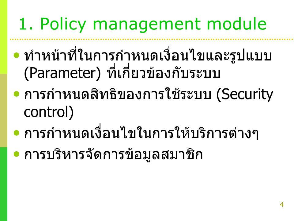 4 1. Policy management module ทำหน้าที่ในการกำหนดเงื่อนไขและรูปแบบ (Parameter) ที่เกี่ยวข้องกับระบบ การกำหนดสิทธิของการใช้ระบบ (Security control) การก