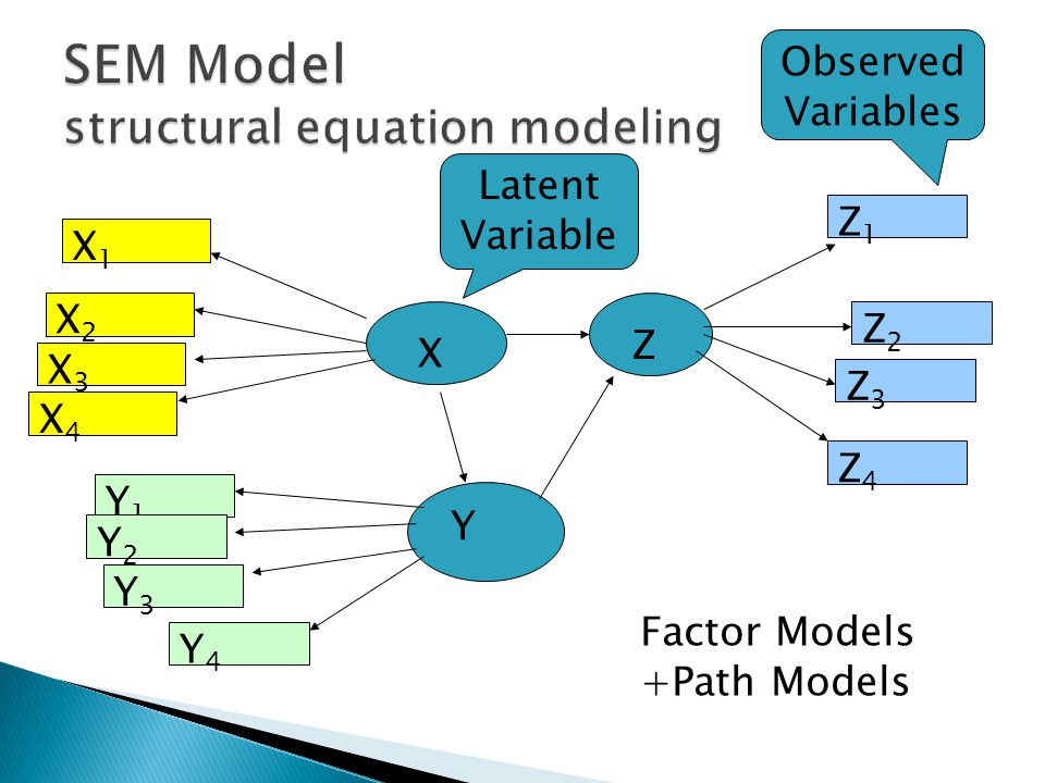 X1X1 X2X2 X3X3 X4X4 Y1Y1 Y2Y2 Y3Y3 Y4Y4 Z Z1Z1 Z2Z2 Z3Z3 Z4Z4 X Y Latent Variable Observed Variables Factor Models +Path Models