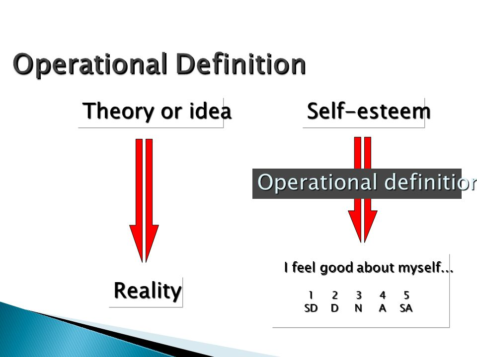Theory or idea Reality Operational definition Self-esteem I feel good about myself... 12345 SDDNASA