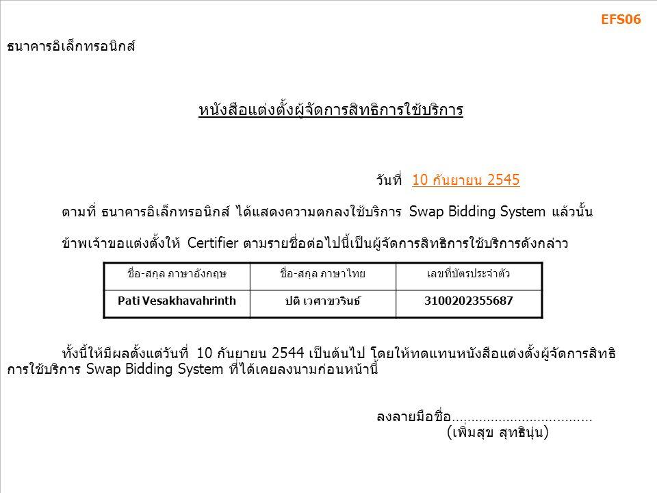 มุ่งมั่นพัฒนา สร้างคุณค่าเพื่อไทย 11,15-18 ก.ค.46 ธนาคารอิเล็กทรอนิกส์ หนังสือแตงตั้งผู้จัดการสิทธิการใช้บริการ วันที่ 10 กันยายน 2545 ตามที่ ธนาคารอ