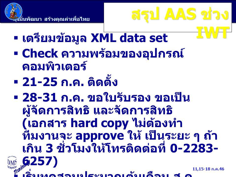 มุ่งมั่นพัฒนา สร้างคุณค่าเพื่อไทย 11,15-18 ก.ค.46 สรุป AAS ช่วง IWT  เตรียมข้อมูล XML data set  Check ความพร้อมของอุปกรณ์ คอมพิวเตอร์  21-25 ก. ค.
