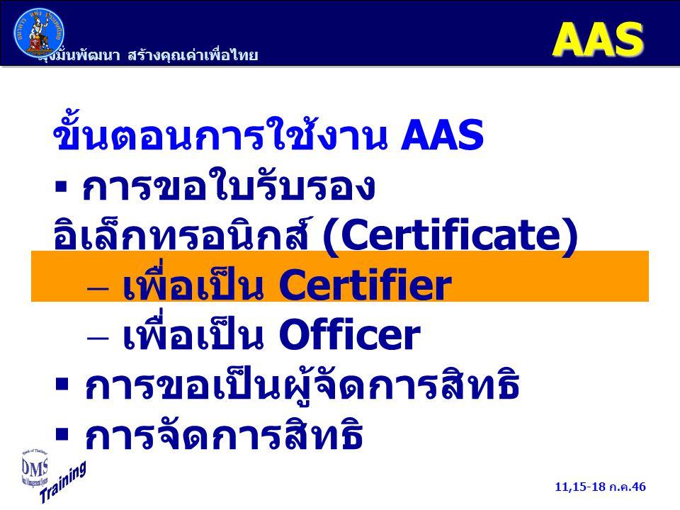 มุ่งมั่นพัฒนา สร้างคุณค่าเพื่อไทย 11,15-18 ก.ค.46 Officer/BOT Web Station 1.ขอใบรับรองอิเล็กทรอนิกส์ 2.พิมพ์หนังสือแต่งตั้ง Officer Certifier ลงลายมือชื่อใน หนังสือแต่งตั้ง Officer 1.ตรวจสอบใบรับรองอิเล็กทรอนิกส์ 2.อนุมัติิิใบรับรองอิเล็กทรอนิกส์/ โทรศัพท์แจ้งผล ธปท./EFS AdminOfficer/BOT Web Station ติดตั้งใบรับรองอิเล็กทรอนิกส์ ธปท.