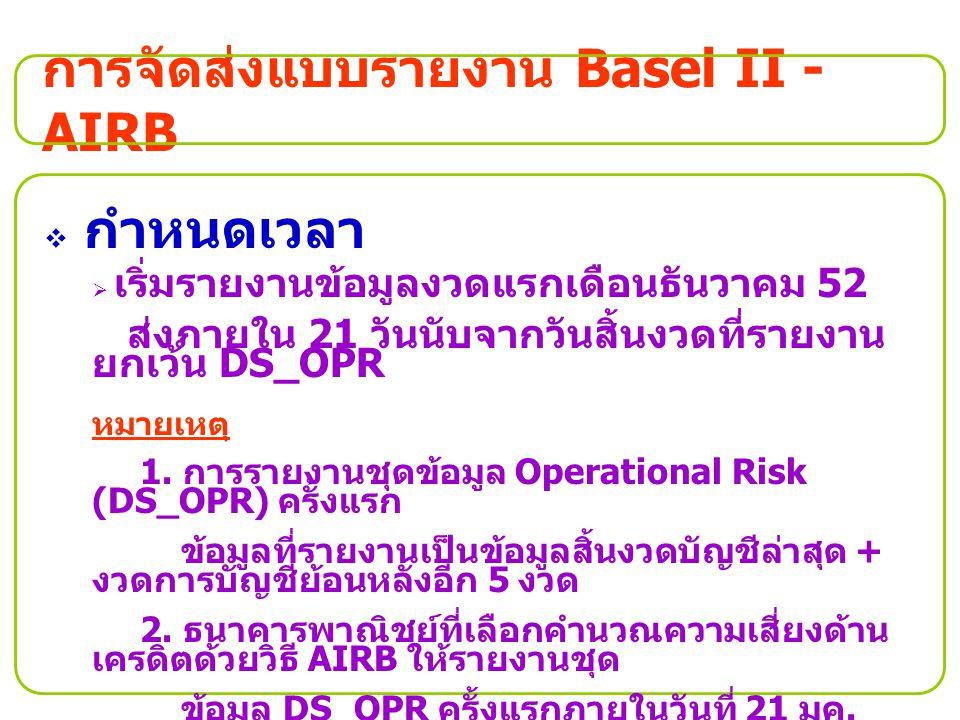 การจัดส่งแบบรายงาน Basel II - AIRB  กำหนดเวลา  เริ่มรายงานข้อมูลงวดแรกเดือนธันวาคม 52 ส่งภายใน 21 วันนับจากวันสิ้นงวดที่รายงาน ยกเว้น DS_OPR หมายเหต