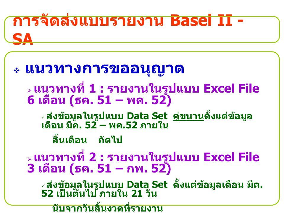 การจัดส่งแบบรายงาน Basel II - SA  แนวทางการขออนุญาต  แนวทางที่ 1 : รายงานในรูปแบบ Excel File 6 เดือน ( ธค. 51 – พค. 52) ส่งข้อมูลในรูปแบบ Data Set ค