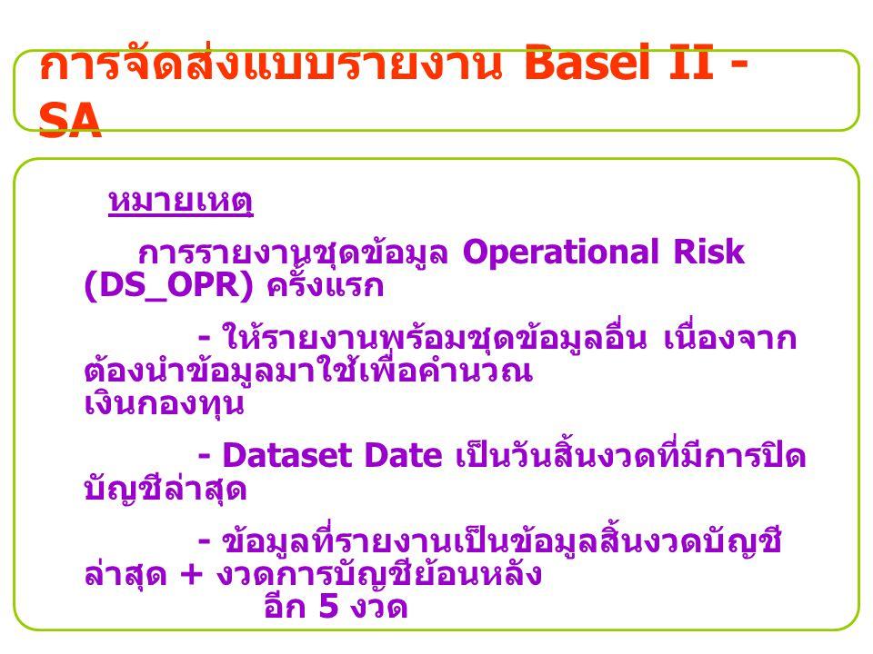 การจัดส่งแบบรายงาน Basel II - SA หมายเหตุ การรายงานชุดข้อมูล Operational Risk (DS_OPR) ครั้งแรก - ให้รายงานพร้อมชุดข้อมูลอื่น เนื่องจาก ต้องนำข้อมูลมา