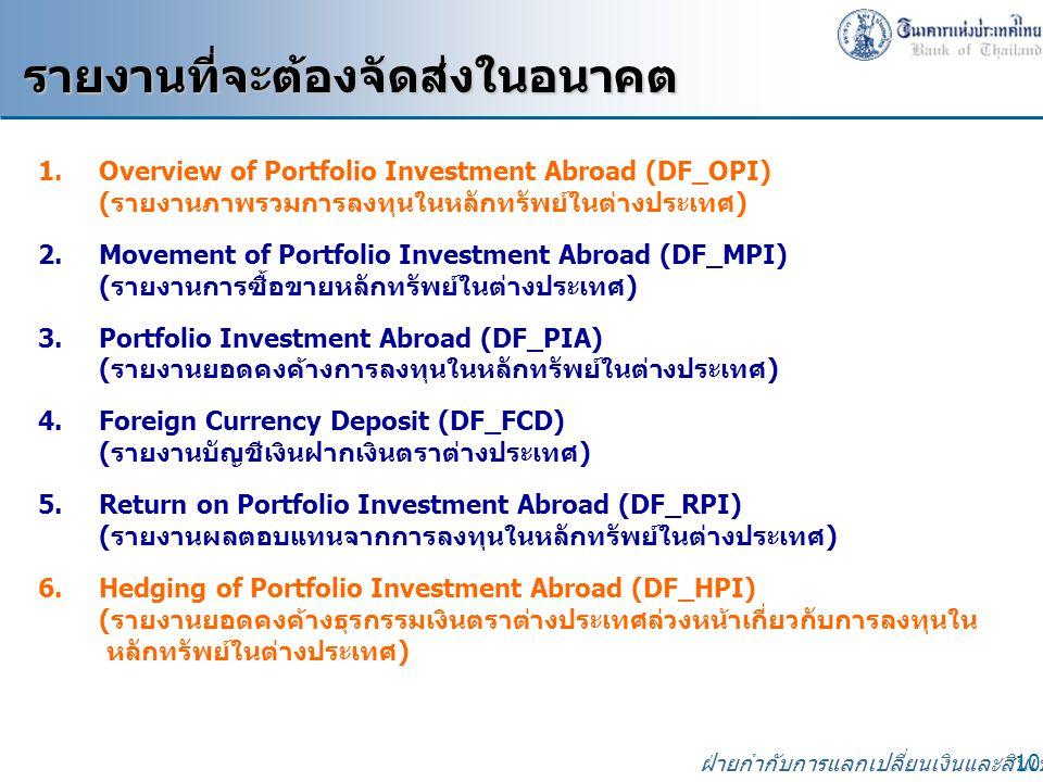ฝ่ายกำกับการแลกเปลี่ยนเงินและสินเชื่อ 10 1.Overview of Portfolio Investment Abroad (DF_OPI) (รายงานภาพรวมการลงทุนในหลักทรัพย์ในต่างประเทศ) 2.Movement of Portfolio Investment Abroad (DF_MPI) (รายงานการซื้อขายหลักทรัพย์ในต่างประเทศ) 3.Portfolio Investment Abroad (DF_PIA) (รายงานยอดคงค้างการลงทุนในหลักทรัพย์ในต่างประเทศ) 4.Foreign Currency Deposit (DF_FCD) (รายงานบัญชีเงินฝากเงินตราต่างประเทศ) 5.Return on Portfolio Investment Abroad (DF_RPI) (รายงานผลตอบแทนจากการลงทุนในหลักทรัพย์ในต่างประเทศ) 6.Hedging of Portfolio Investment Abroad (DF_HPI) (รายงานยอดคงค้างธุรกรรมเงินตราต่างประเทศล่วงหน้าเกี่ยวกับการลงทุนใน หลักทรัพย์ในต่างประเทศ) รายงานที่จะต้องจัดส่งในอนาคต รายงานที่จะต้องจัดส่งในอนาคต