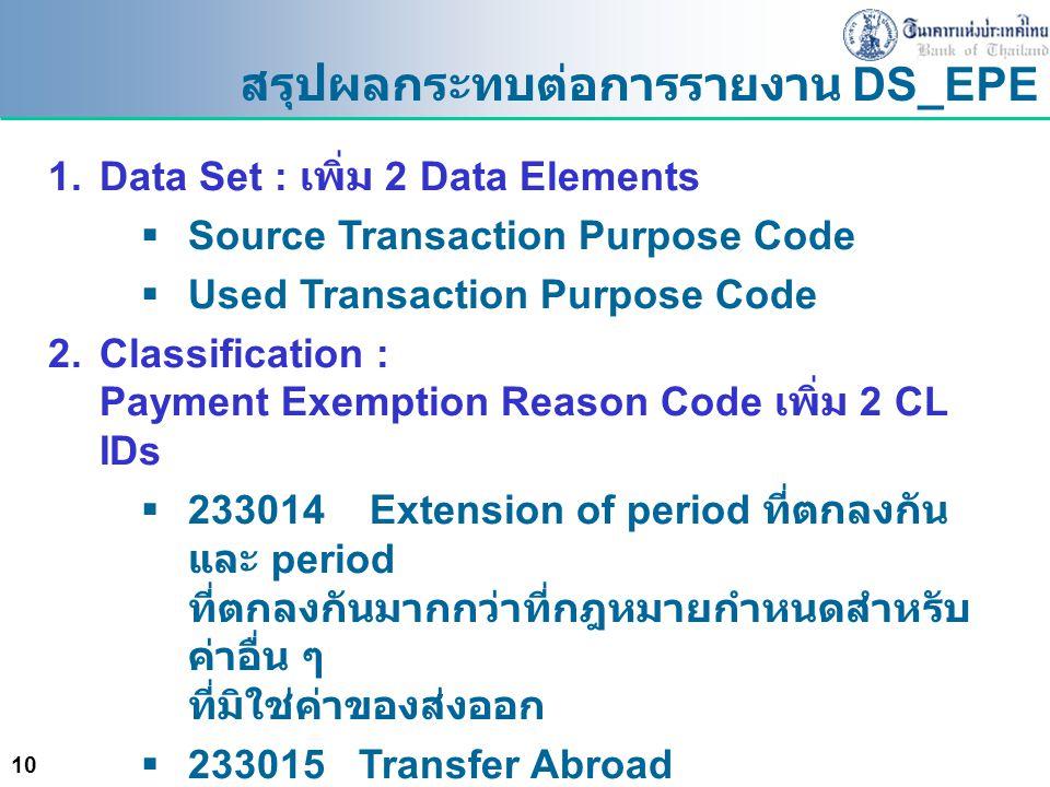 10 สรุปผลกระทบต่อการรายงาน DS_EPE 1.Data Set : เพิ่ม 2 Data Elements  Source Transaction Purpose Code  Used Transaction Purpose Code 2.Classificatio