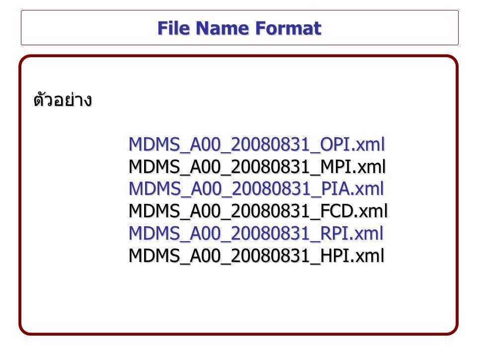File Name Format ตัวอย่างMDMS_A00_20080831_OPI.xmlMDMS_A00_20080831_MPI.xml M DMS_A00_20080831_PIA.xml MDMS_A00_20080831_FCD.xmlMDMS_A00_20080831_RPI.xmlMDMS_A00_20080831_HPI.xml