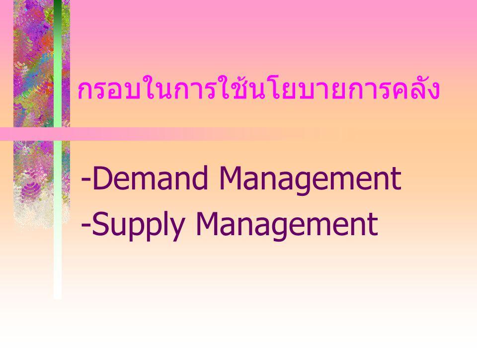 กรอบในการใช้นโยบายการคลัง -Demand Management -Supply Management