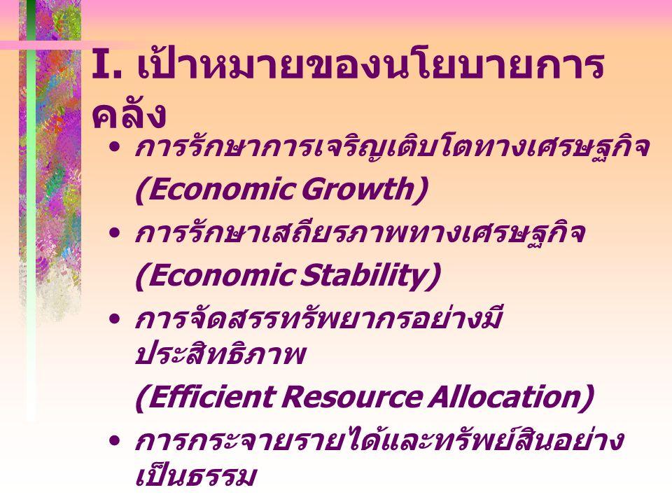 การรักษาการเจริญเติบโตทางเศรษฐกิจ (Economic Growth) การรักษาเสถียรภาพทางเศรษฐกิจ (Economic Stability) การจัดสรรทรัพยากรอย่างมี ประสิทธิภาพ (Efficient