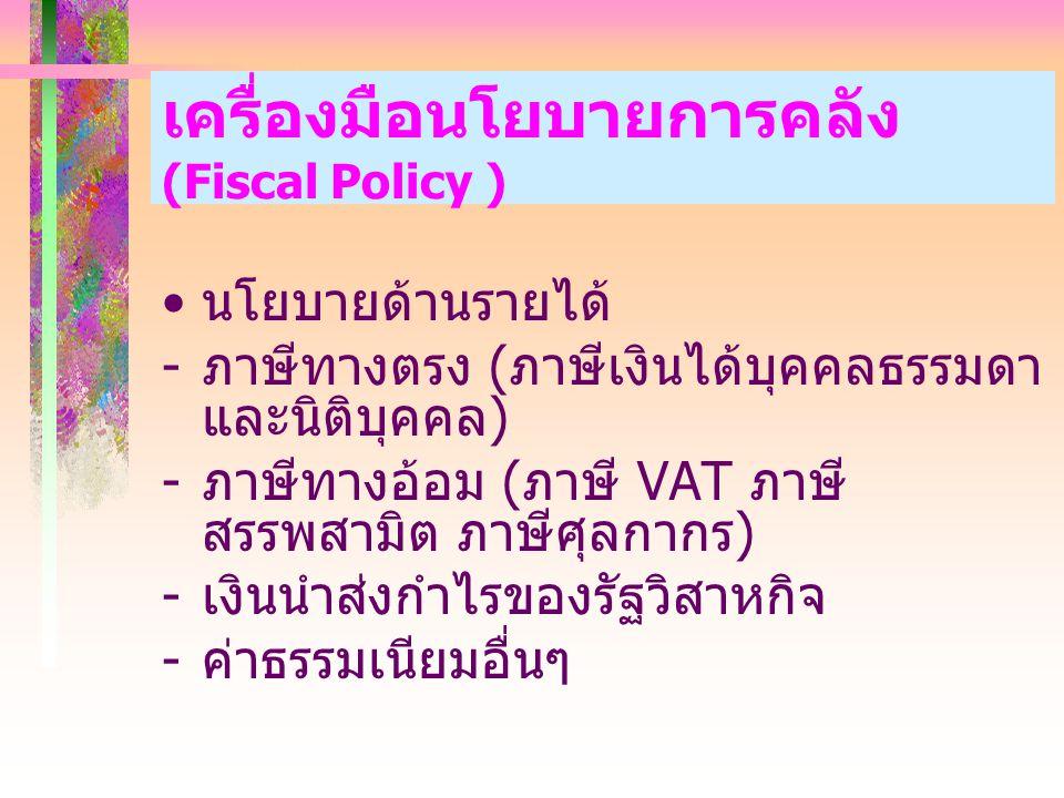 เครื่องมือนโยบายการคลัง (Fiscal Policy ) นโยบายด้านรายได้ - ภาษีทางตรง ( ภาษีเงินได้บุคคลธรรมดา และนิติบุคคล ) - ภาษีทางอ้อม ( ภาษี VAT ภาษี สรรพสามิต