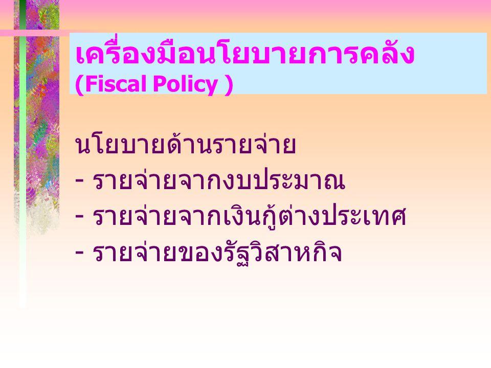 เครื่องมือนโยบายการคลัง (Fiscal Policy ) นโยบายด้านรายจ่าย - รายจ่ายจากงบประมาณ - รายจ่ายจากเงินกู้ต่างประเทศ - รายจ่ายของรัฐวิสาหกิจ