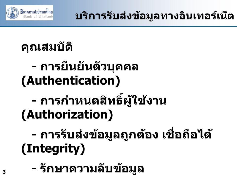 3 บริการรับส่งข้อมูลทางอินเทอร์เน็ต คุณสมบัติ - การยืนยันตัวบุคคล (Authentication) - การกำหนดสิทธิ์ผู้ใช้งาน (Authorization) - การรับส่งข้อมูลถูกต้อง เชื่อถือได้ (Integrity) - รักษาความลับข้อมูล (Confidentiality)