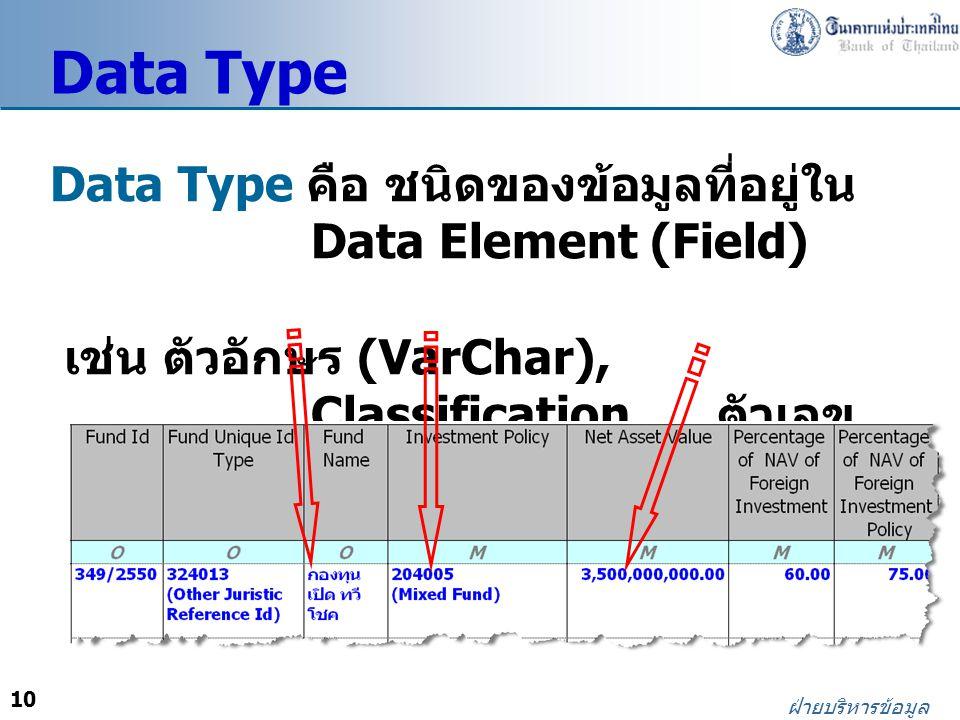 10 ฝ่ายบริหารข้อมูล Data Type คือ ชนิดของข้อมูลที่อยู่ใน Data Element (Field) เช่น ตัวอักษร (VarChar), Classification, ตัวเลข (Amount) Data Type