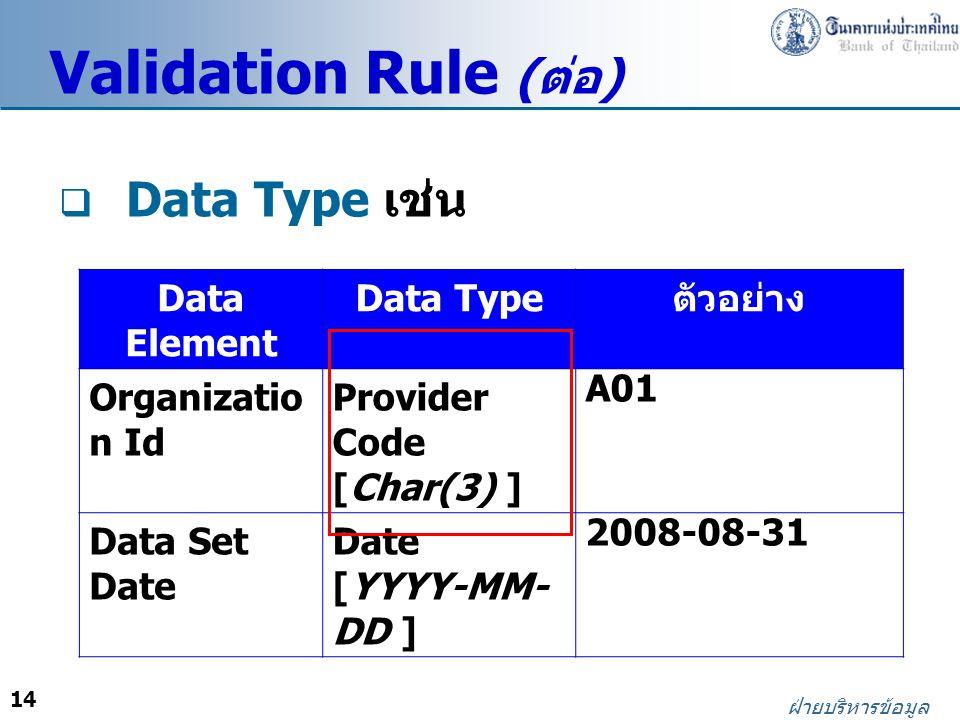 14 ฝ่ายบริหารข้อมูล  Data Type เช่น Data Element Data Type ตัวอย่าง Organizatio n Id Provider Code [Char(3) ] A01 Data Set Date Date [YYYY-MM- DD ] 2008-08-31 Validation Rule ( ต่อ )