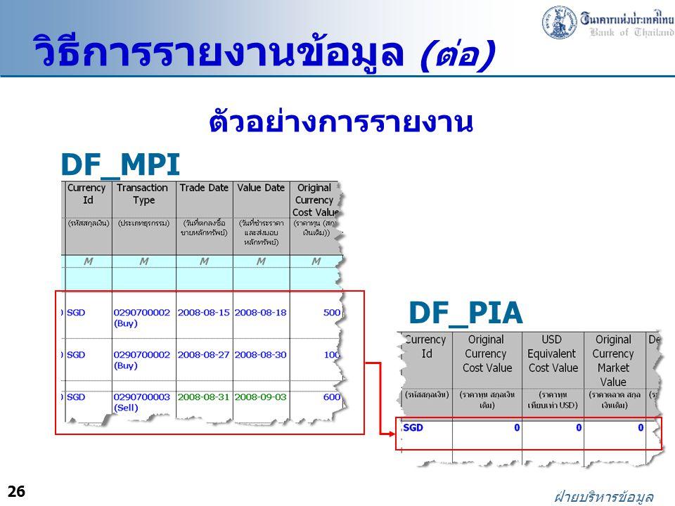 26 ฝ่ายบริหารข้อมูล ตัวอย่างการรายงาน DF_MPI DF_PIA วิธีการรายงานข้อมูล ( ต่อ )