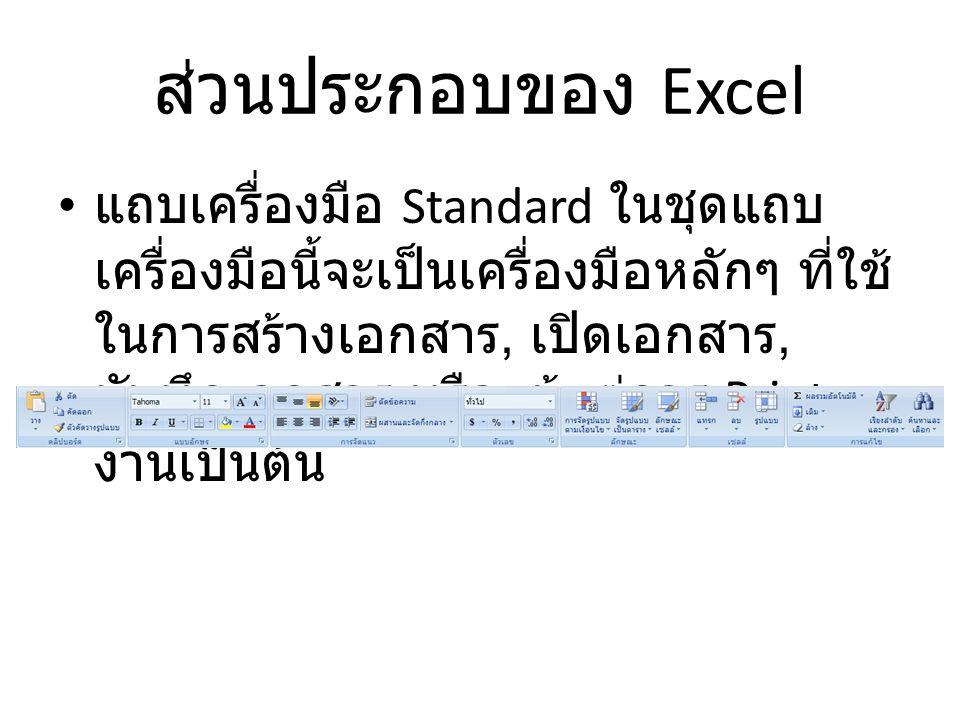 ส่วนประกอบของ Excel แถบเครื่องมือ Standard ในชุดแถบ เครื่องมือนี้จะเป็นเครื่องมือหลักๆ ที่ใช้ ในการสร้างเอกสาร, เปิดเอกสาร, บันทึกเอกสาร หรือแม้แต่การ