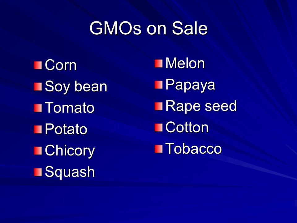 GMOs on Sale Corn Soy bean TomatoPotatoChicorySquash MelonPapaya Rape seed CottonTobacco