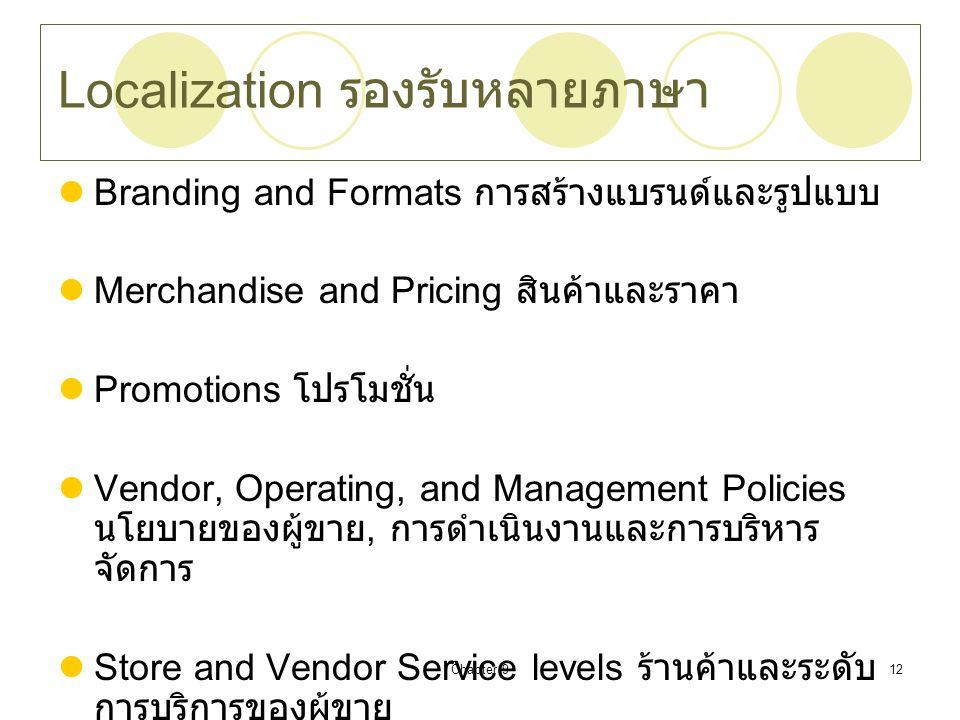 Chapter 912 Localization รองรับหลายภาษา Branding and Formats การสร้างแบรนด์และรูปแบบ Merchandise and Pricing สินค้าและราคา Promotions โปรโมชั่น Vendor, Operating, and Management Policies นโยบายของผู้ขาย, การดำเนินงานและการบริหาร จัดการ Store and Vendor Service levels ร้านค้าและระดับ การบริการของผู้ขาย