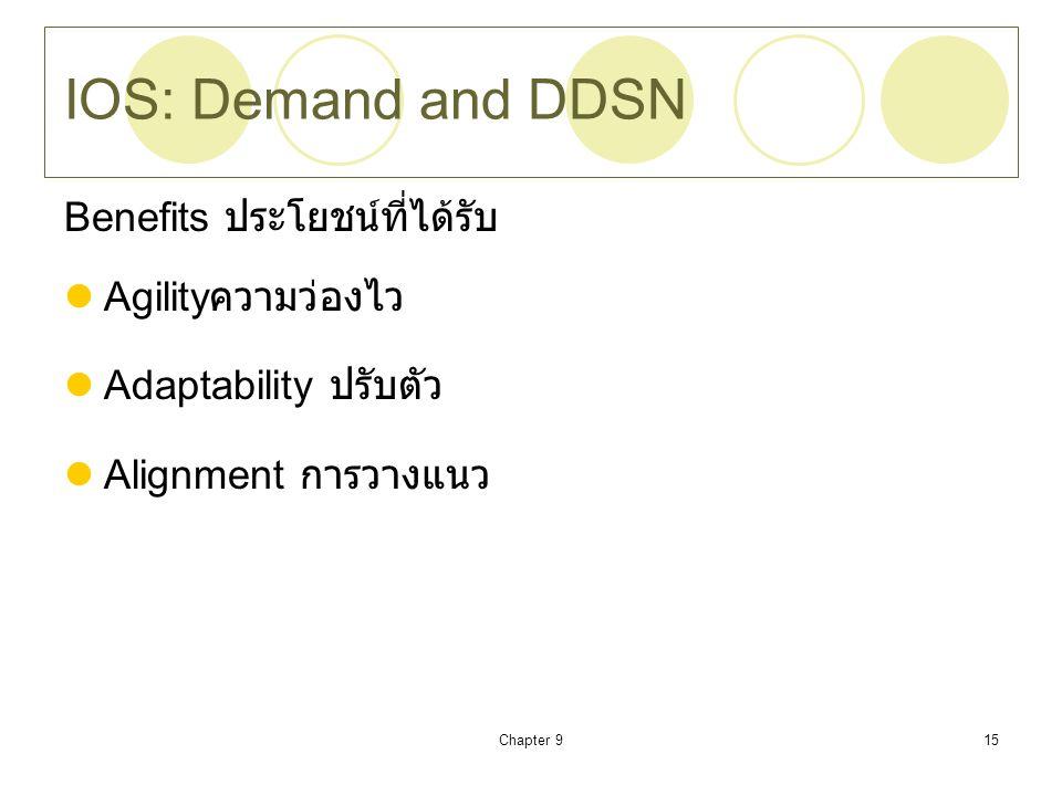Chapter 915 IOS: Demand and DDSN Benefits ประโยชน์ที่ได้รับ Agility ความว่องไว Adaptability ปรับตัว Alignment การวางแนว