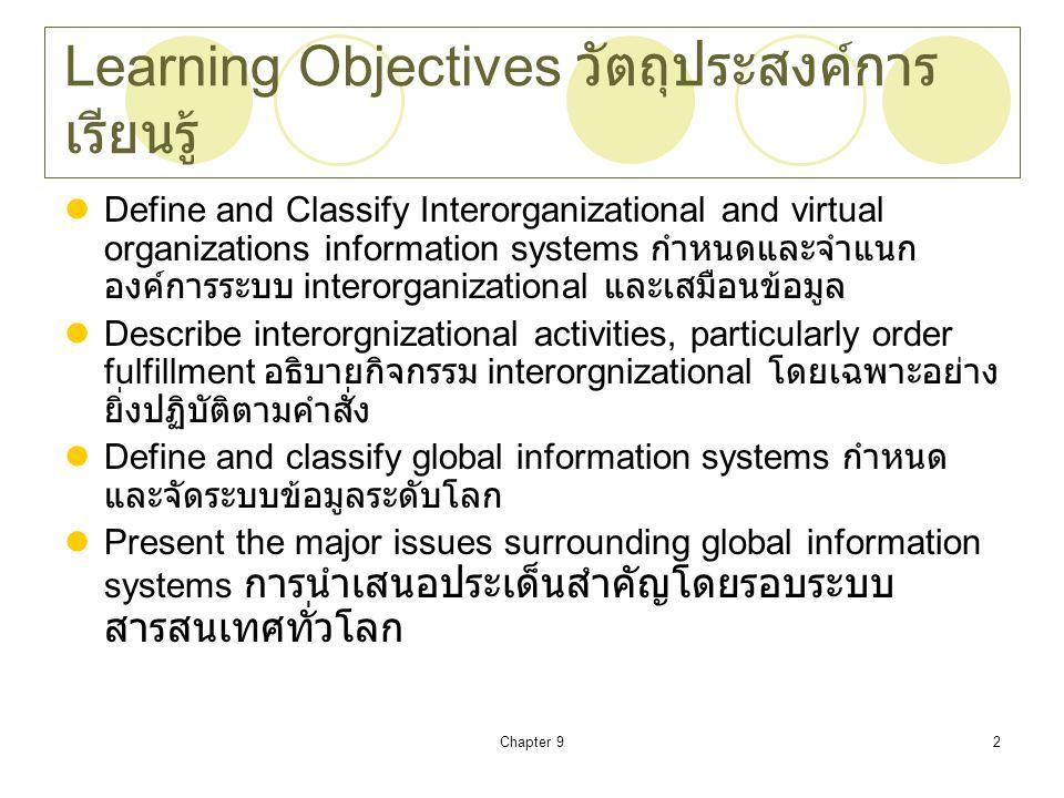 Chapter 92 Learning Objectives วัตถุประสงค์การ เรียนรู้ Define and Classify Interorganizational and virtual organizations information systems กำหนดและ
