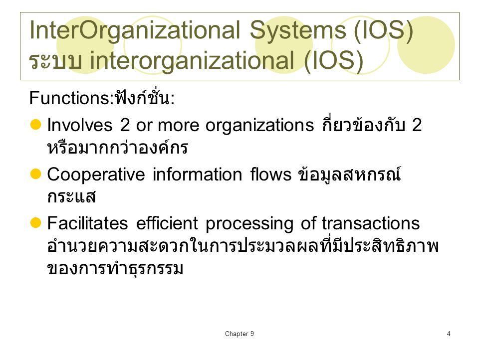 Chapter 94 InterOrganizational Systems (IOS) ระบบ interorganizational (IOS) Functions: ฟังก์ชั่น : Involves 2 or more organizations กี่ยวข้องกับ 2 หรื