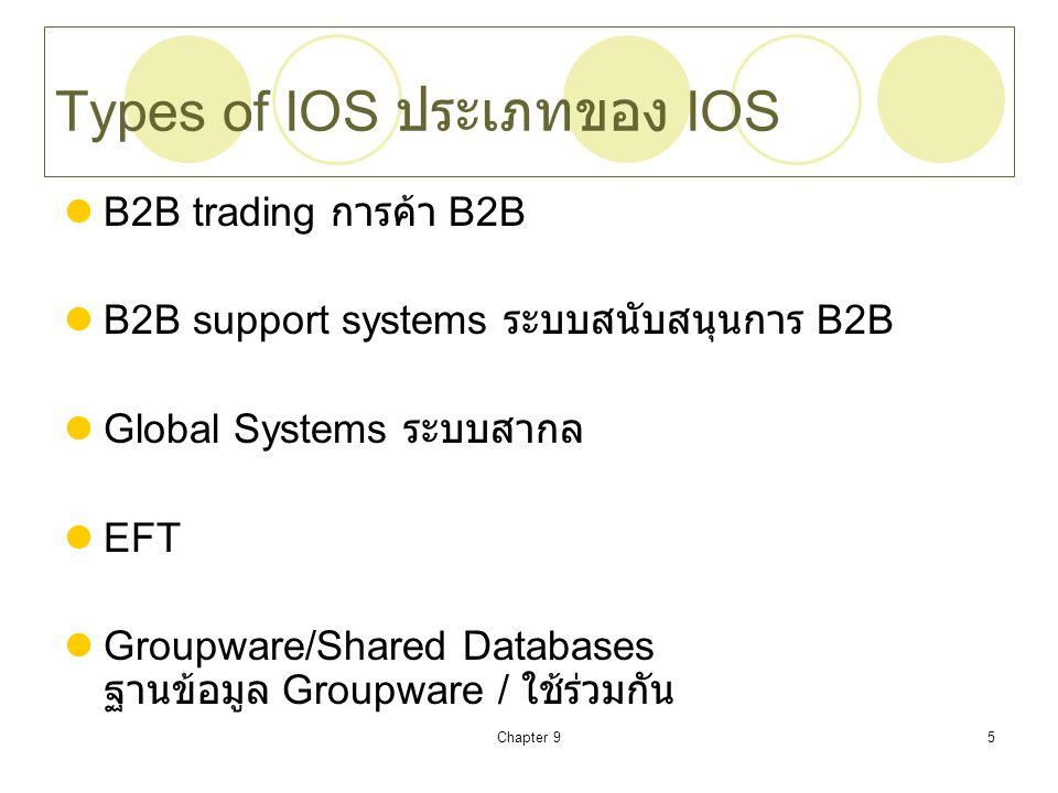 Chapter 95 Types of IOS ประเภทของ IOS B2B trading การค้า B2B B2B support systems ระบบสนับสนุนการ B2B Global Systems ระบบสากล EFT Groupware/Shared Data