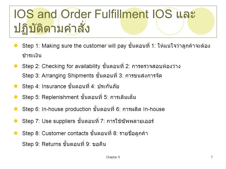 Chapter 98 IOS Problems ปัญหา IOS Delays and transportation ความล่าช้าและการขนส่ง Human errors / misunderstanding ข้อผิดพลาดของ มนุษย์ / ความเข้าใจผิด Over / Under Inventories กว่า / ต่ำคงเหลือ Misdirected Shipments จัดส่งผิด Late / Incorrect delivery reporting รายงานการจัดส่ง ล่าช้า / ไม่ถูกต้อง