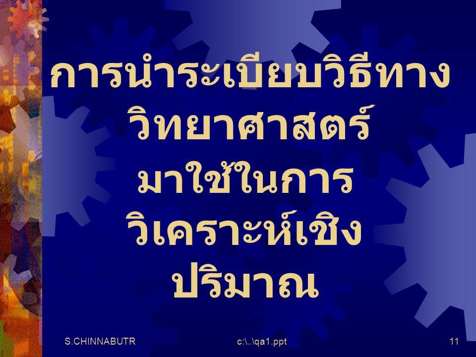 S.CHINNABUTRc:\..\qa1.ppt11 การนำระเบียบวิธีทาง วิทยาศาสตร์ มาใช้ใน การ วิเคราะห์เชิง ปริมาณ