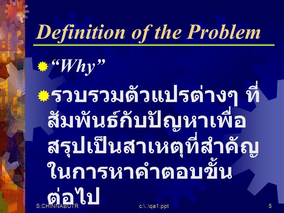 """S.CHINNABUTRc:\..\qa1.ppt5 Definition of the Problem  """"Why""""  รวบรวมตัวแปรต่างๆ ที่ สัมพันธ์กับปัญหาเพื่อ สรุปเป็นสาเหตุที่สำคัญ ในการหาคำตอบขั้น ต่อ"""