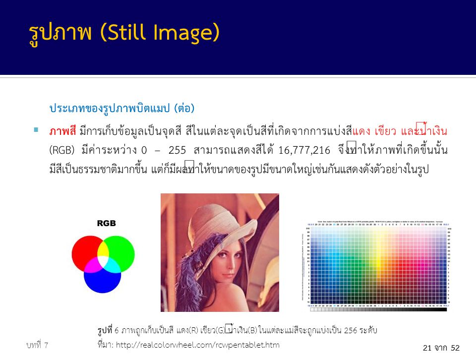 21 จาก 52 ประเภทของรูปภาพบิตแมป (ต่อ)  ภาพสี มีการเก็บข้อมูลเป็นจุดสี สีในแต่ละจุดเป็นสีที่เกิดจากการแบ่งสีแดง เขียว และน้ำเงิน (RGB) มีค่าระหว่าง 0 – 255 สามารถแสดงสีได้ 16,777,216 จึงทำให้ภาพที่เกิดขึ้นนั้น มีสีเป็นธรรมชาติมากขึ้น แต่ก็มีผลทำให้ขนาดของรูปมีขนาดใหญ่เช่นกันแสดงดังตัวอย่างในรูป บทที่ 7 รูปภาพ (Still Image) รูปที่ 6 ภาพถูกเก็บเป็นสี แดง(R) เขียว(G) น้ำเงิน(B) ในแต่ละแม่สีจะถูกแบ่งเป็น 256 ระดับ ที่มา: http://realcolorwheel.com/rcwpentablet.htm