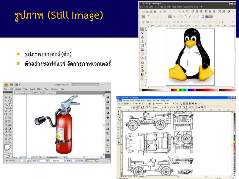 29 จาก 52 รูปภาพ (Still Image)  รูปภาพเวกเตอร์ (ต่อ)  ตัวอย่างซอฟต์แวร์ จัดการภาพเวกเตอร์
