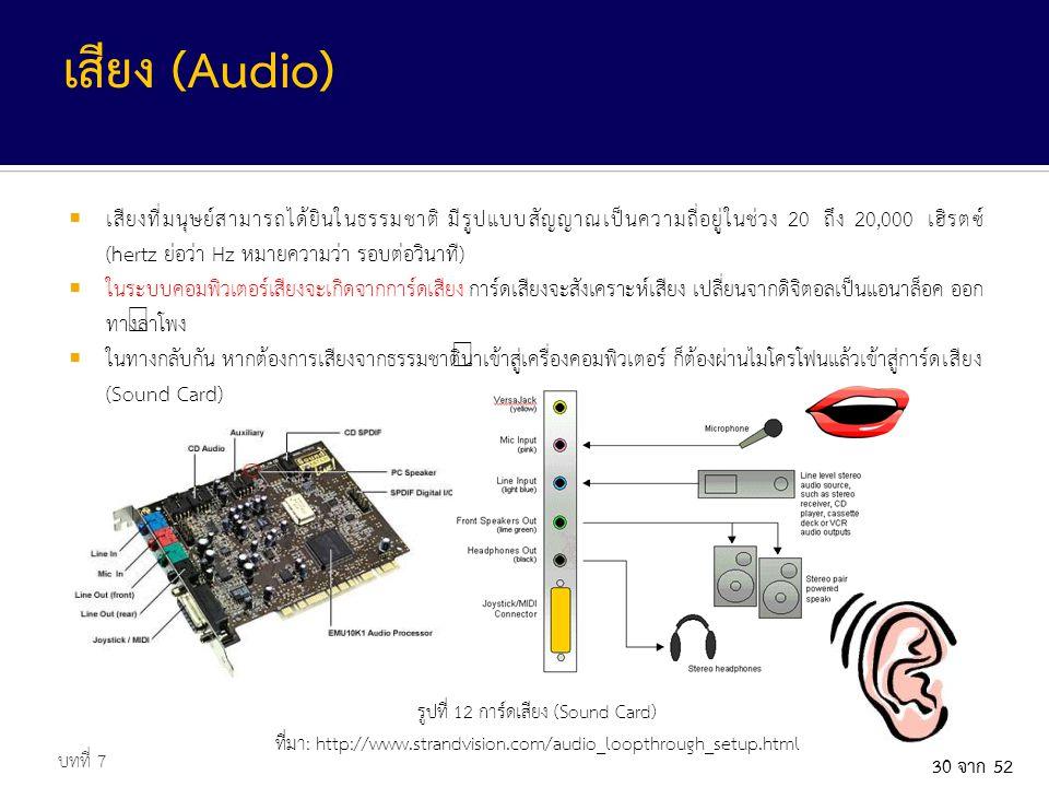 30 จาก 52  เสียงที่มนุษย์สามารถได้ยินในธรรมชาติ มีรูปแบบสัญญาณเป็นความถี่อยู่ในช่วง 20 ถึง 20,000 เฮิรตซ์ (hertz ย่อว่า Hz หมายความว่า รอบต่อวินาที)  ในระบบคอมพิวเตอร์เสียงจะเกิดจากการ์ดเสียง การ์ดเสียงจะสังเคราะห์เสียง เปลี่ยนจากดิจิตอลเป็นแอนาล็อค ออก ทางลำโพง  ในทางกลับกัน หากต้องการเสียงจากธรรมชาตินำเข้าสู่เครื่องคอมพิวเตอร์ ก็ต้องผ่านไมโครโฟนแล้วเข้าสู่การ์ดเสียง (Sound Card) บทที่ 7 เสียง (Audio) รูปที่ 12 การ์ดเสียง (Sound Card) ที่มา: http://www.strandvision.com/audio_loopthrough_setup.html