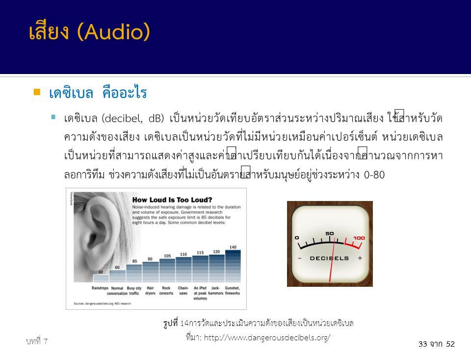 33 จาก 52  เดซิเบล คืออะไร  เดซิเบล (decibel, dB) เป็นหน่วยวัดเทียบอัตราส่วนระหว่างปริมาณเสียง ใช้สำหรับวัด ความดังของเสียง เดซิเบลเป็นหน่วยวัดที่ไม่มีหน่วยเหมือนค่าเปอร์เซ็นต์ หน่วยเดซิเบล เป็นหน่วยที่สามารถแสดงค่าสูงและค่าต่ำเปรียบเทียบกันได้เนื่องจากคำนวณจากการหา ลอการิทึม ช่วงความดังเสียงที่ไม่เป็นอันตรายสำหรับมนุษย์อยู่ช่วงระหว่าง 0-80 บทที่ 7 เสียง (Audio) รูปที่ 14การวัดและประเมินความดังของเสียงเป็นหน่วยเดซิเบล ที่มา: http://www.dangerousdecibels.org/