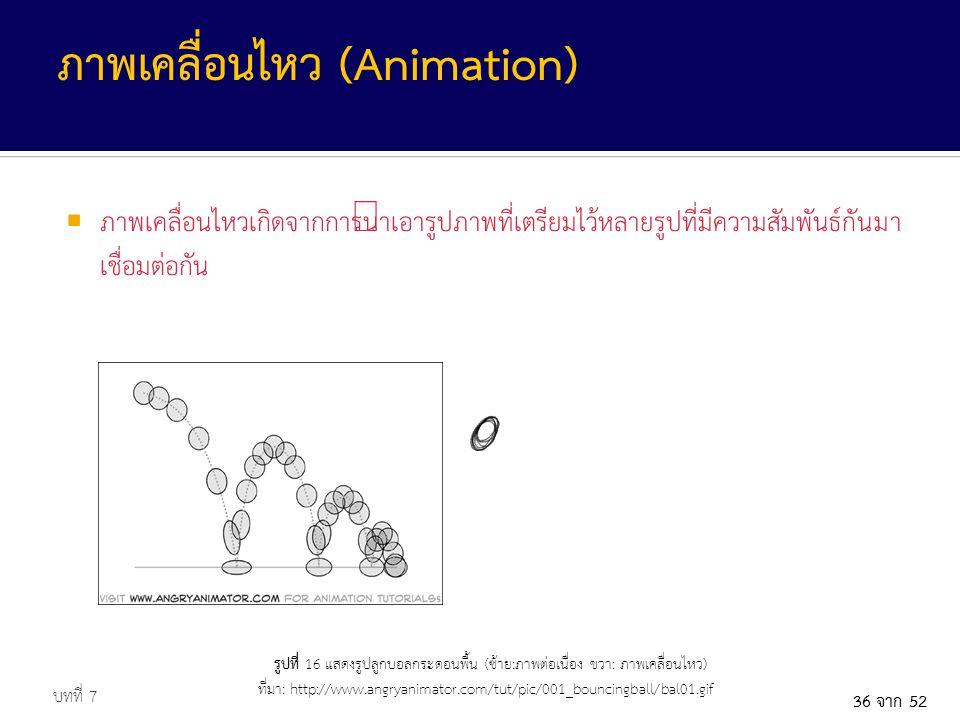 36 จาก 52  ภาพเคลื่อนไหวเกิดจากการนำเอารูปภาพที่เตรียมไว้หลายรูปที่มีความสัมพันธ์กันมา เชื่อมต่อกัน บทที่ 7 ภาพเคลื่อนไหว (Animation) รูปที่ 16 แสดงรูปลูกบอลกระดอนพื้น (ซ้าย:ภาพต่อเนื่อง ขวา: ภาพเคลื่อนไหว) ที่มา: http://www.angryanimator.com/tut/pic/001_bouncingball/bal01.gif