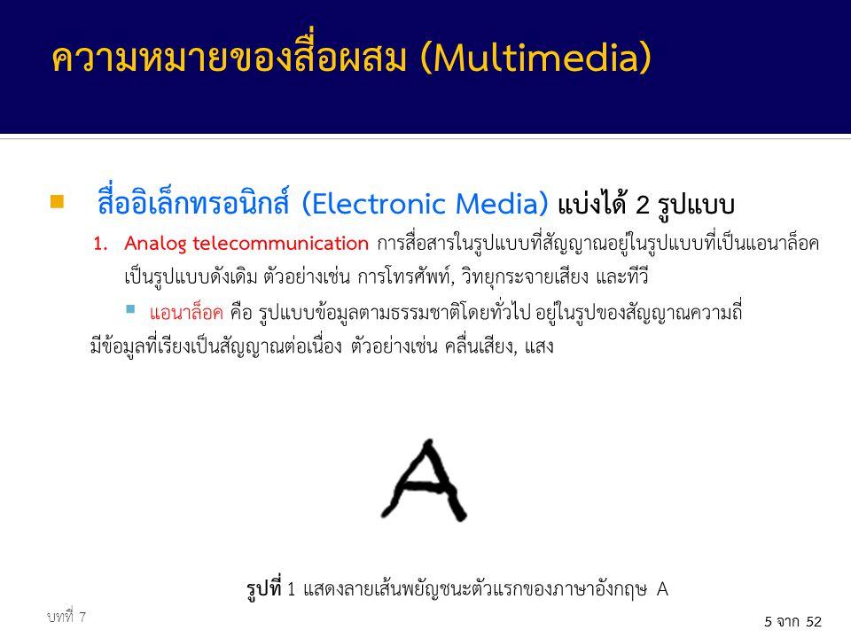 5 จาก 52  สื่ออิเล็กทรอนิกส์ (Electronic Media) แบ่งได้ 2 รูปแบบ บทที่ 7 ความหมายของสื่อผสม (Multimedia) รูปที่ 1 แสดงลายเส้นพยัญชนะตัวแรกของภาษาอังก