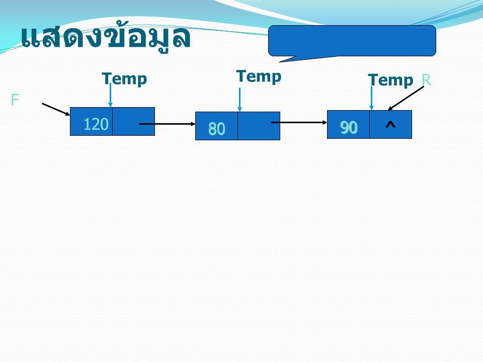 แสดงข้อมูล 120 F Temp 80 Temp 90^ R 120 80 90