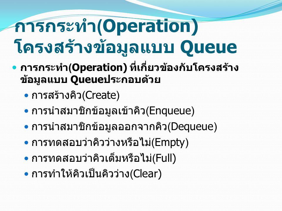 การกระทำ (Operation) โครงสร้างข้อมูลแบบ Queue การกระทำ (Operation) ที่เกี่ยวข้องกับโครงสร้าง ข้อมูลแบบ Queue ประกอบด้วย การสร้างคิว (Create) การนำสมาช