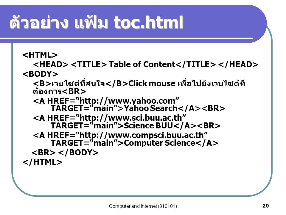 Computer and Internet (310101)20 ตัวอย่าง แฟ้ม toc.html Table of Content เวบไซต์ที่สนใจ Click mouse เพื่อไปยังเวบไซต์ที่ ต้องการ Yahoo Search Science