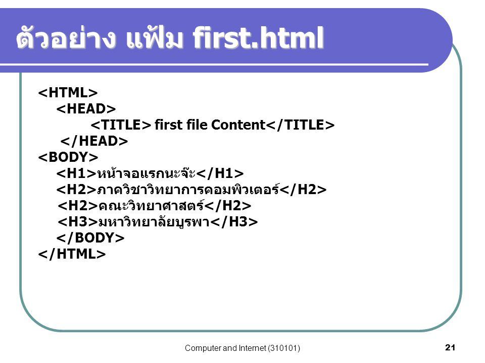 Computer and Internet (310101)21 ตัวอย่าง แฟ้ม first.html first file Content หน้าจอแรกนะจ๊ะ ภาควิชาวิทยาการคอมพิวเตอร์ คณะวิทยาศาสตร์ มหาวิทยาลัยบูรพา